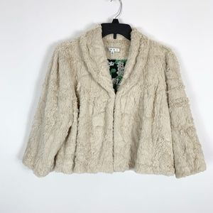 Cabi Cardigan Sweater XL Alpine Faux Fur Cream Shr
